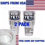 (2 Pack) Yeti Rambler 30oz Coolers Tumbler Stainless Steel Cup Coffee Mugs