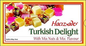 Mixed Nuts & Mixed Flavor Turkish Delights 454g By: Hacizade