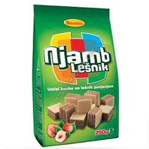 Njamb hazelnut wafer cubes 250g