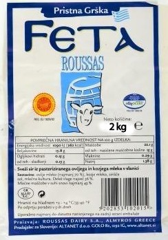 Roussas Feta Cheese Sheep & Goats milk 2kg