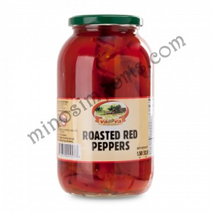 Fire roasted red peppers with garlic  83oz VAVA